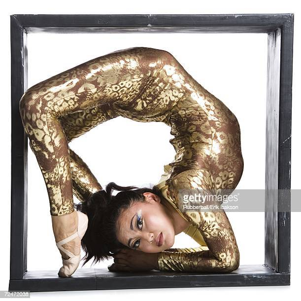 Female contortionist inside the box