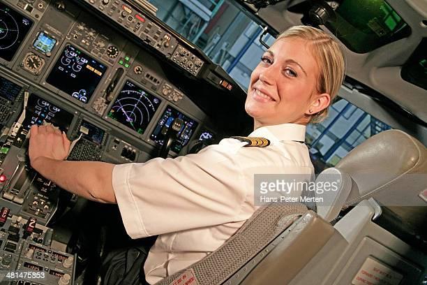 female copilot in jetplane