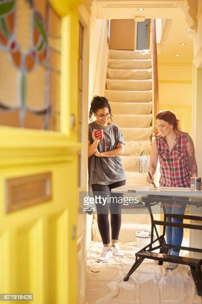 female couple refurbing new home