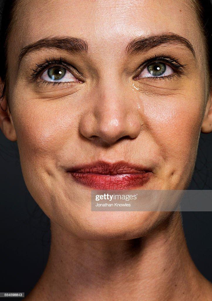 Female crying with joy : Stock Photo