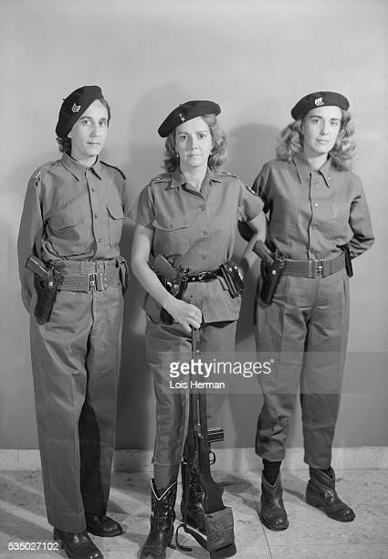 Female Cuban rebel soldiers Havana Cuba 6/25/59 names are Niquita Naomi and Nela Rodiles