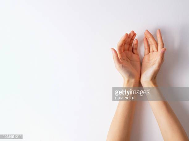 female cupped hands on white - hands cupped stock pictures, royalty-free photos & images
