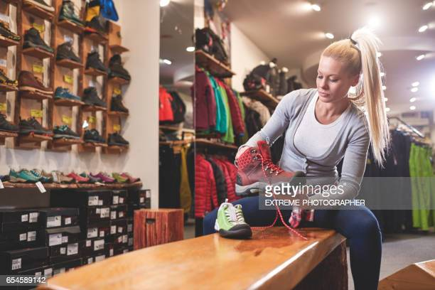 Female customer in sports store