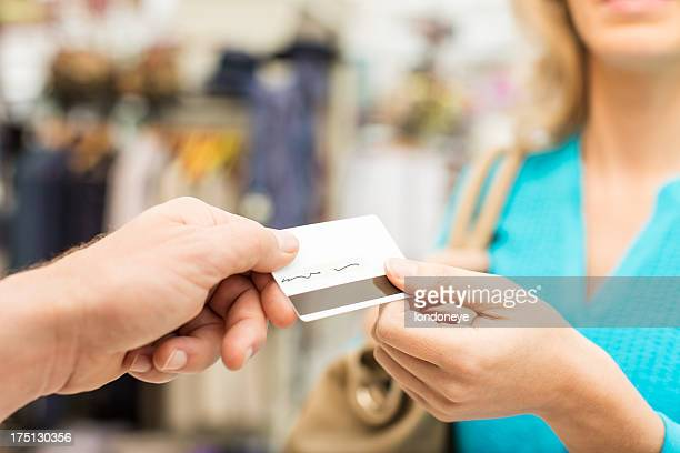 Female Customer Paying Through Credit card