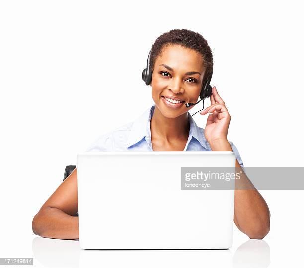 Client Service opérateur femme travaillant sur son ordinateur portable-isolé