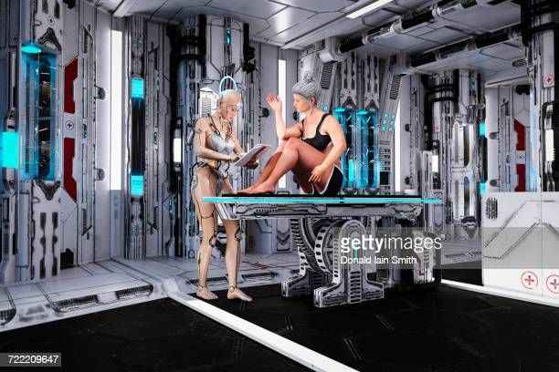 Female cyborg examining older woman on table