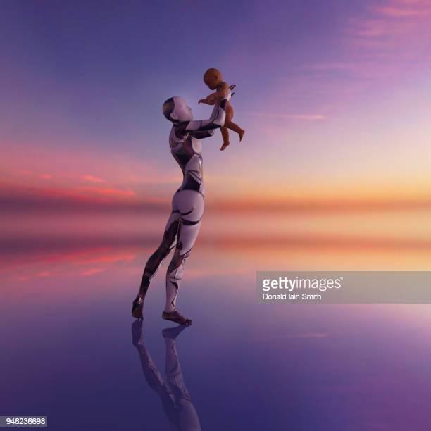 Female cyborg holds baby up high
