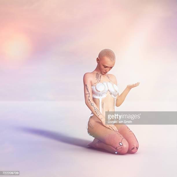female cyborg kneeling and praying - mulher orando de joelhos imagens e fotografias de stock