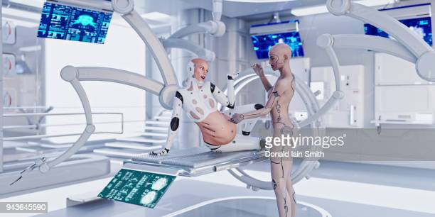 Female cyborg medical worker examines happy pregnant cyborg in futuristic medical room
