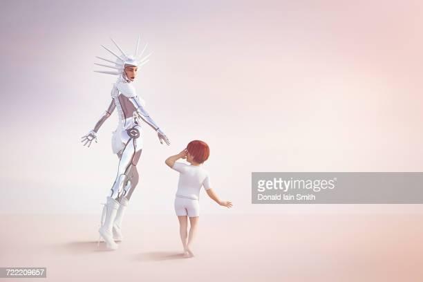 Female cyborg reaching for hand of boy