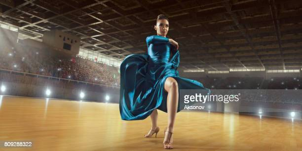 female dancer ardently perform the latin american dance on a large professional stage - ukrainian angel stock photos and pictures