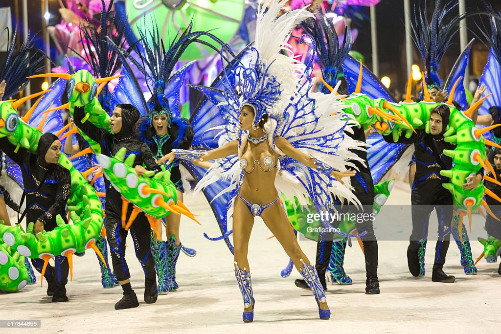Female dancer at carnival in Argentina Gualeguaychu : Stock Photo