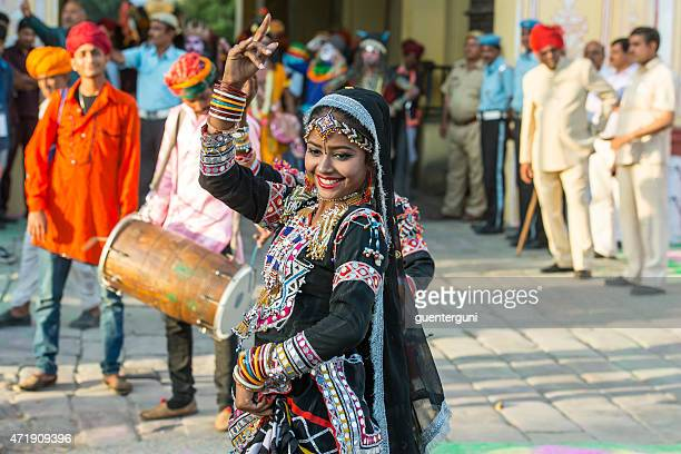 female dancer at the gangaur festival in jaipur, rajasthan, india - harvest festival stock pictures, royalty-free photos & images
