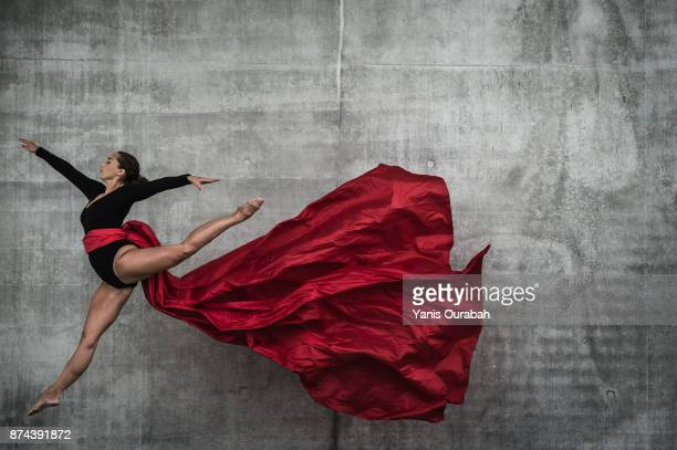 Female dancer dancing in the streets of Lyon, France