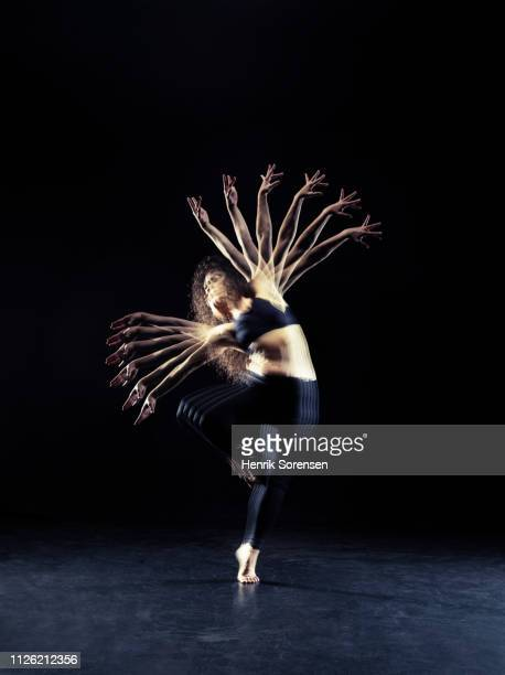 female dancer in multiple motion - female streaking stock pictures, royalty-free photos & images