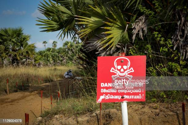 A female deminer works to clear mines in Muhamalai one of the biggest minefields in the world on March 3 2019 in Muhamalai Sri Lanka As the 10 year...