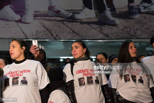 Female demonstrators seen during the rally Rally organized by the family of the three Neapolitan men kidnapped in Tecalitlàn in Mexico they demand...