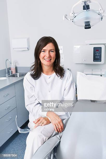 Female Dentist Hygienist in Dental Clinic Office, Small Business Owner
