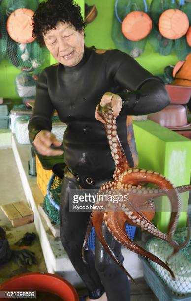 A female diver holds a freshly caught octopus on Nov 23 after diving down more than 10 meters in cold water off Jeju Island in South Korea ==Kyodo