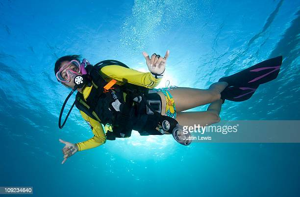 female diver underwater with the sun behind her. - スキューバダイビング ストックフォトと画像