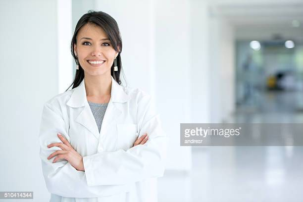 female doctor at the hospital - coat stockfoto's en -beelden