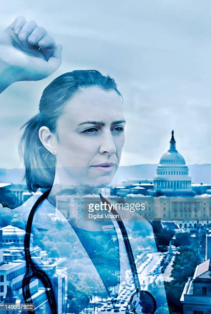 Female doctor looking at the Capitol, Washington