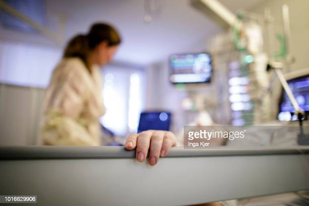 A female doctor looks after a patient in a intensive care unit on July 30 2018 in Bad Belzig Germany