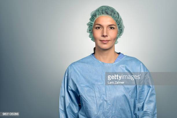Female doctor or male nurse in scrubs