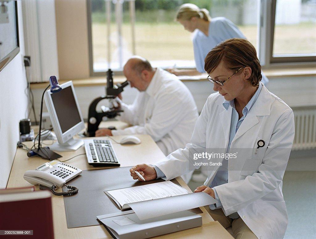 Female doctor sitting in office, portrait : ストックフォト