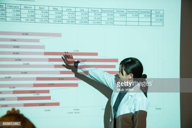 Kvinnliga läkare står i en front av en projektor som gör en presentation