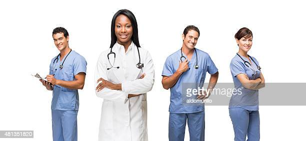 Female doctor standing with her staff
