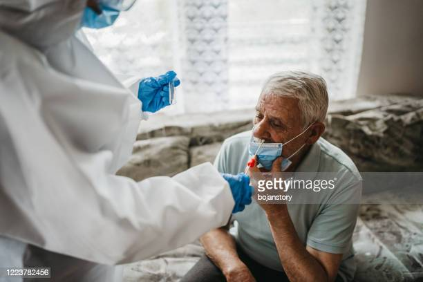 female doctor taking nasal swab test from a senior man at home - qtip stock pictures, royalty-free photos & images