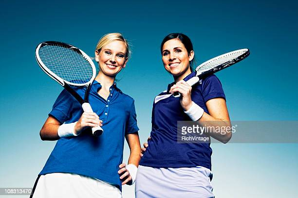 female doubles - doubles stock photos and pictures