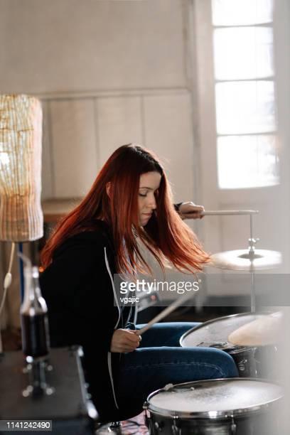 Female Drummer On Rehearsal