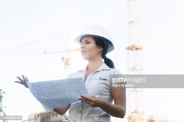 female engineer at site - sigrid gombert 個照片及圖片檔