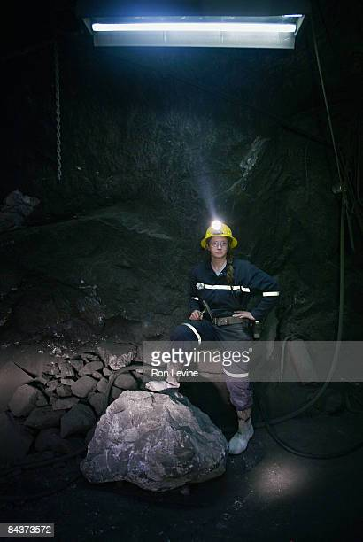 Female engineer below ground in a zinc mine