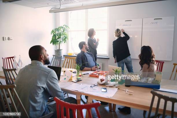 female engineer explaining colleagues over whiteboard during meeting in office - 建築模型 ストックフォトと画像