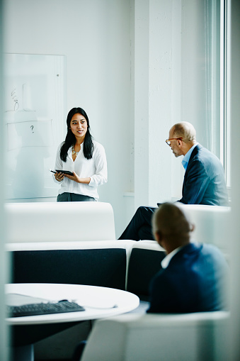 Female engineer leading team meeting in office - gettyimageskorea