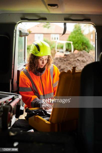 female engineer on site - construction material stock pictures, royalty-free photos & images