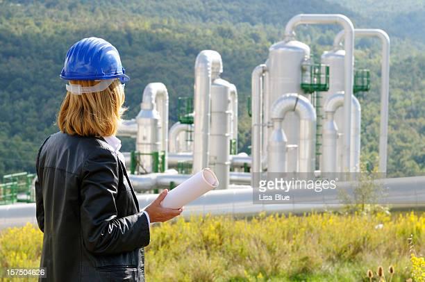 Female Engineer Planning in Geothermal Power Station