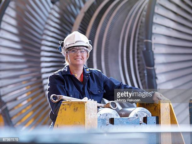 Female Engineer With Turbine