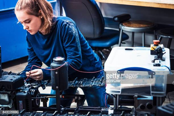 Female engineer working to complete her project before the deadline