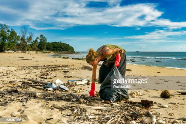 female environmentalist tropical beach pollution cleanup - picking up stock pictures, royalty-free photos & images