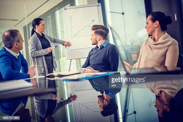 Female Executive Explaining Graph