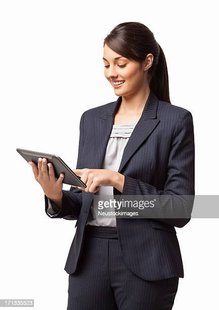 Female Executive Using Digital Tablet - Isolated