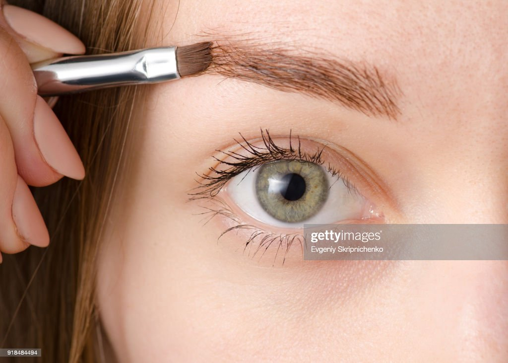 女性目絵画眉用ブラシ : ストックフォト