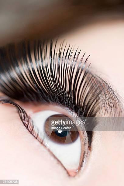 Female eye with false eyelashes