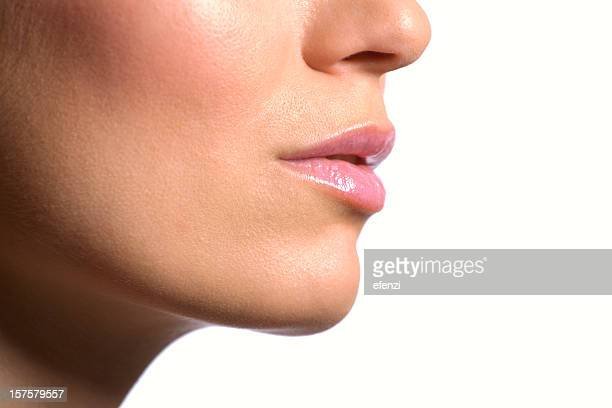 female face close-up - cheek stock pictures, royalty-free photos & images