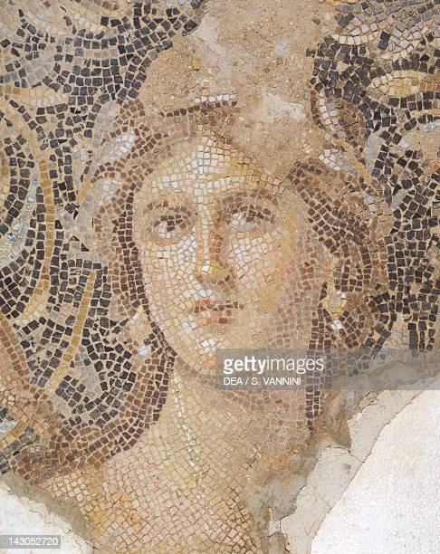 Female face known as the Mona Lisa of the Galilee detail of the mosaic floor with scenes from the life of Dionysus from a Roman villa at Sepphoris...