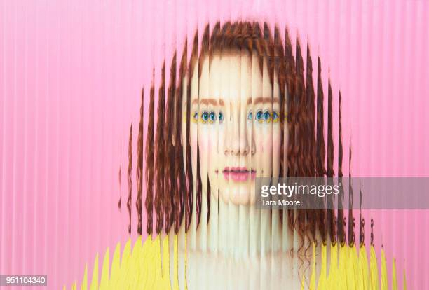 female face obscured behind glass - identity stock photos and pictures